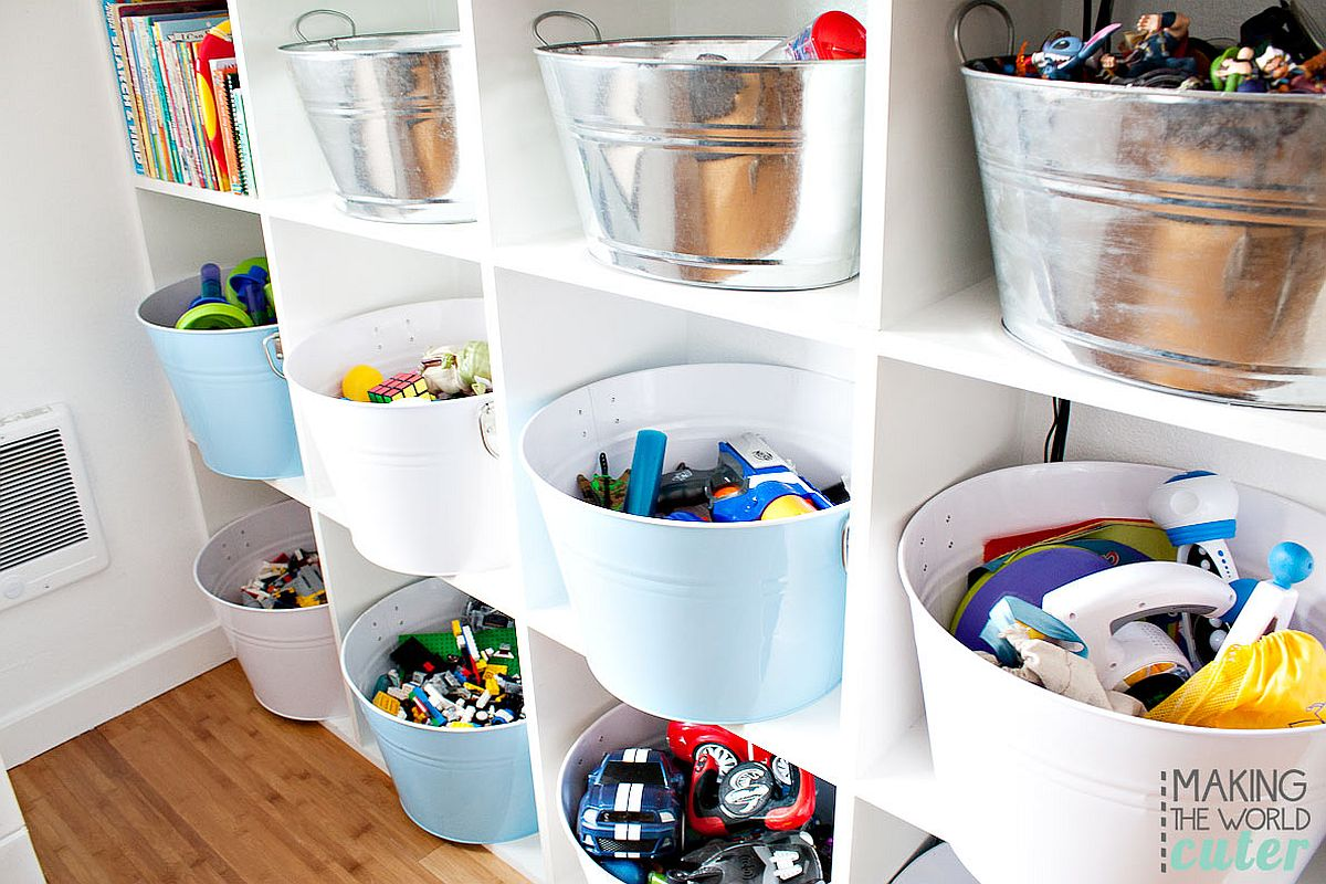 Series of baskets and bins turn the open shelves into an organized storage space