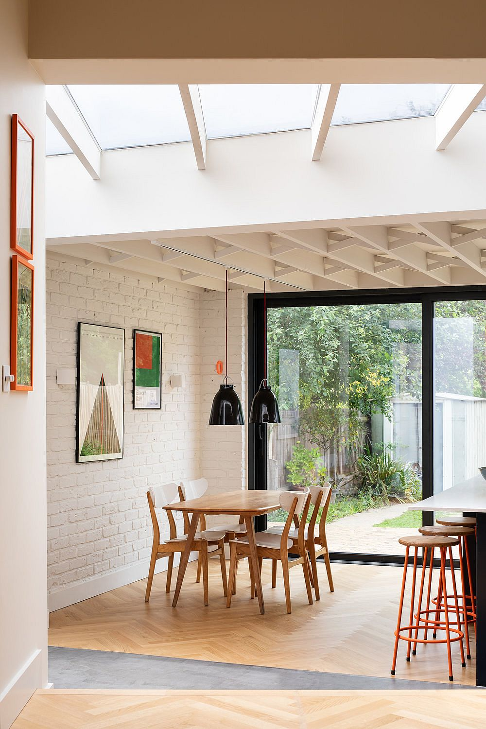 Skylight fills the new dining area, living room and family space with ample natural light