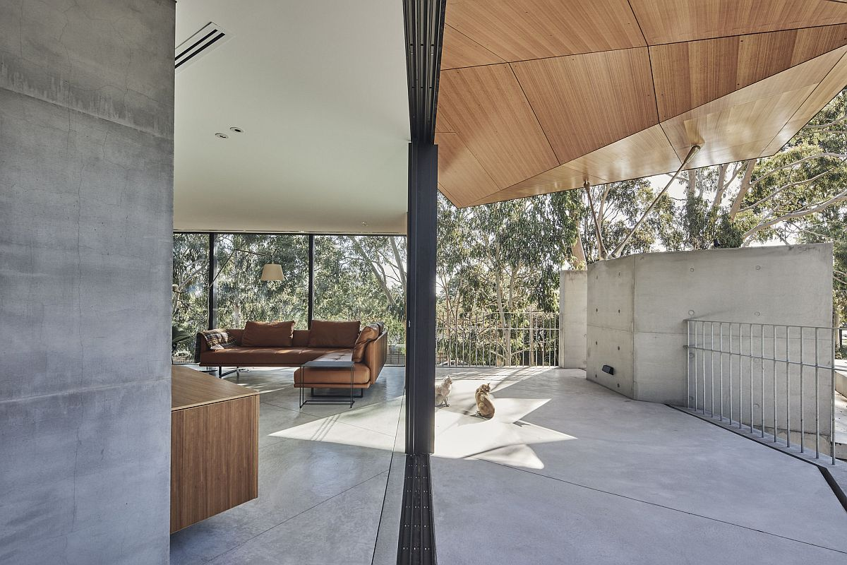 Sliding glass doors connet the interior with the outdoors even as the folded roof in wood steals the spotlight