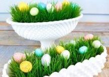 Small eggs in faux grass planters