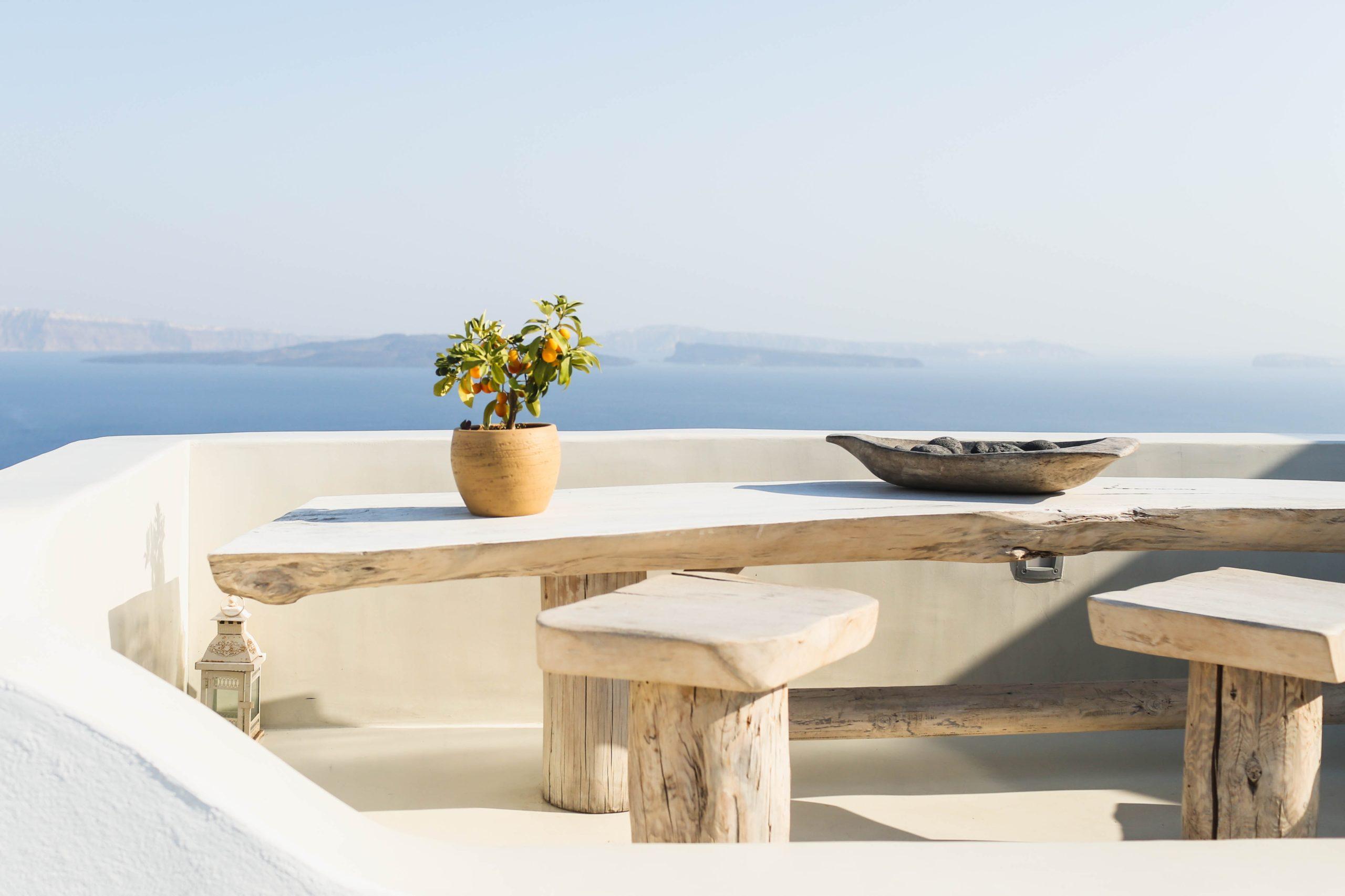 live edge wood table overlooking ocean