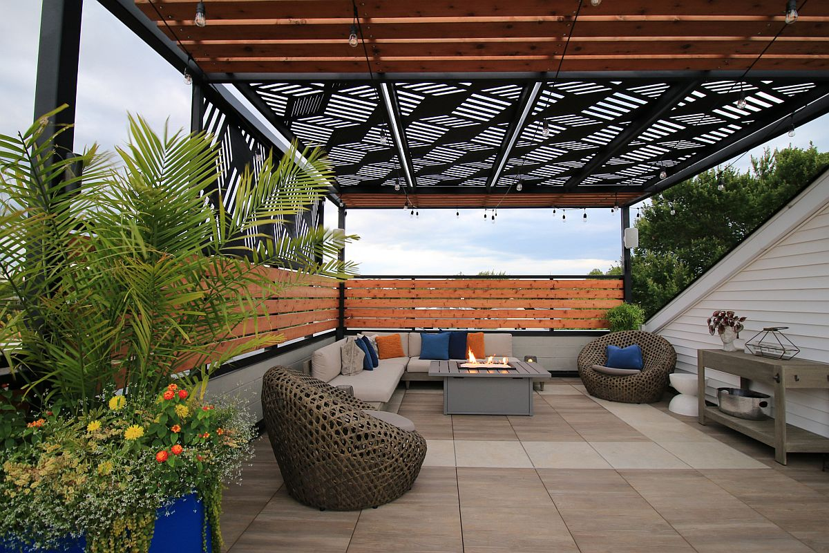 Smart pergola structure provides shade for this stylish outdoor deck