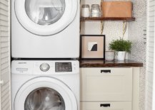 Stack up washer and dryer beside cabinet and shelves