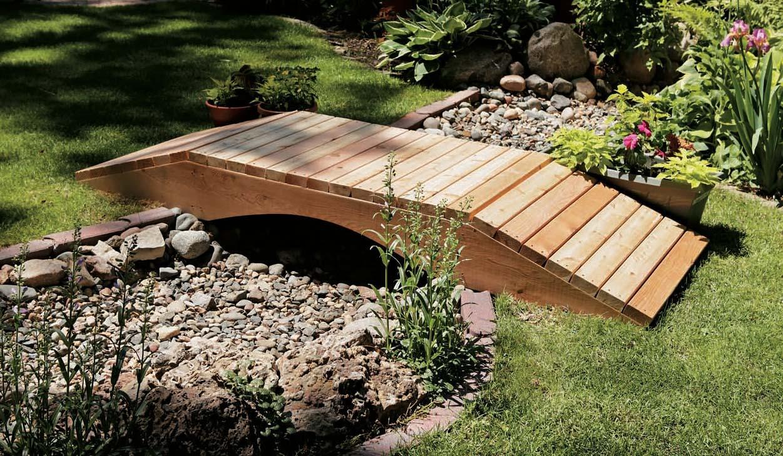 Stones under wooden bridge