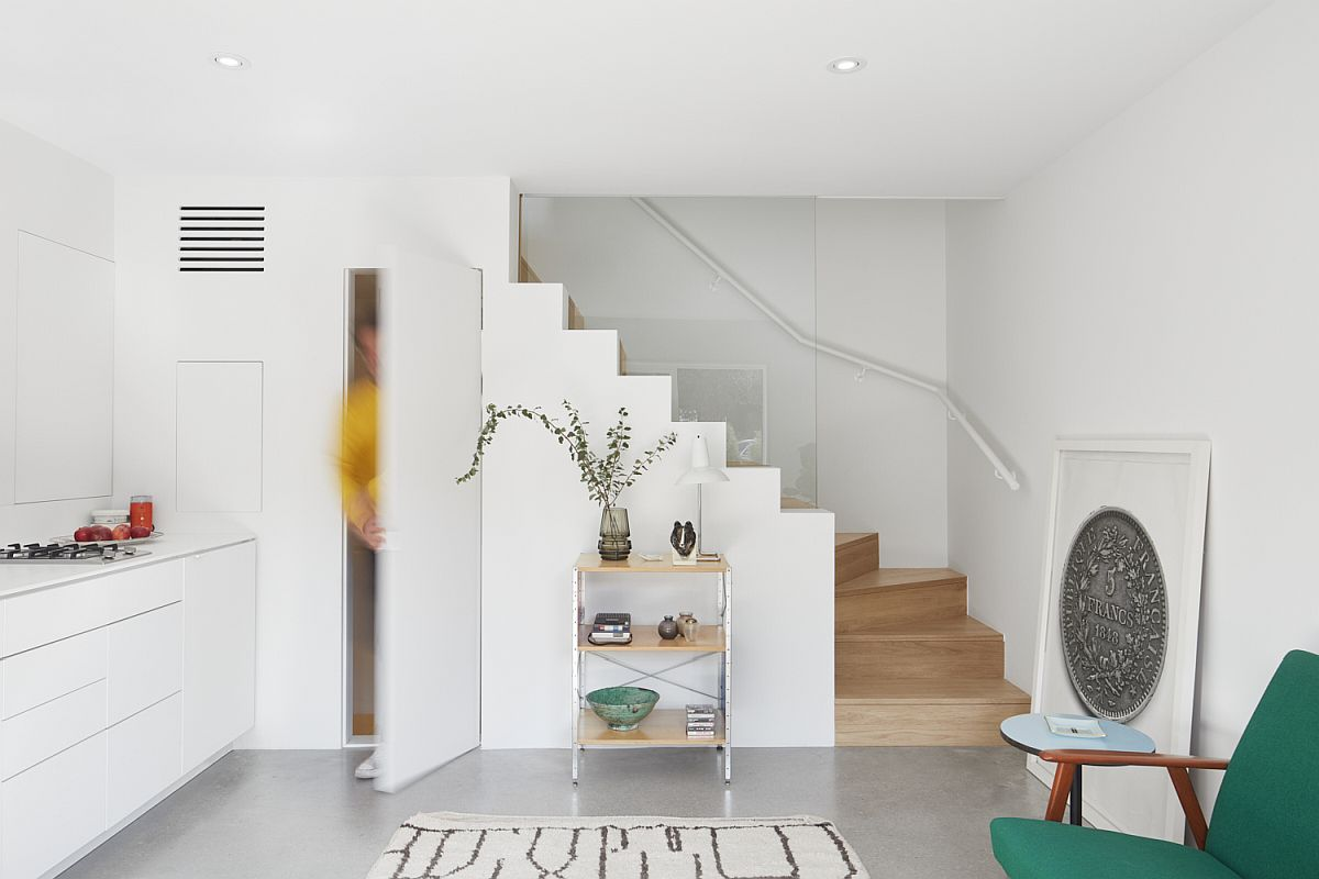 Storage and shelf space under the staircase