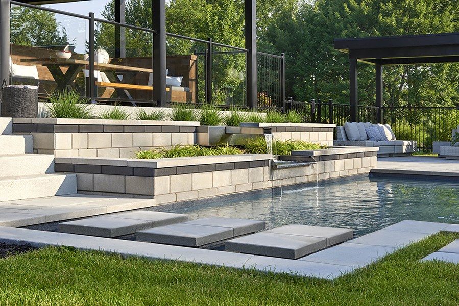 tiered stone deck planters
