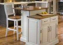 Two-tier kitchen island with matching chairs