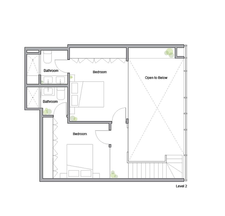 Upper level floor plan of King West Loft by Studio of Contemporary Architecture