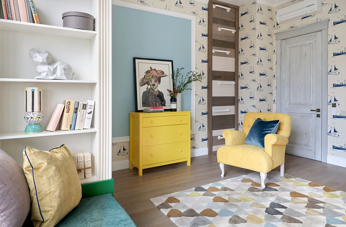 Use accent chairs and deor to usher in a bit of yellow into the modern home