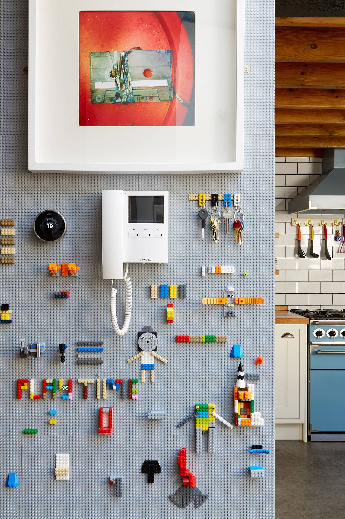 Using a pegboard wall to store smaller toys and accessories in the kids' room