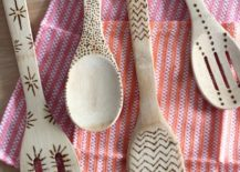 Variety of wood spoons and spatula with pattern