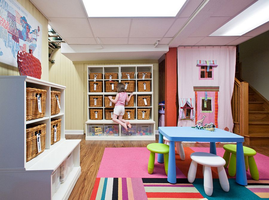 Wall of baskets in the kids playroom make an instant impact both visually and functionally