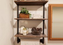 Wall shelf with industrial pipes