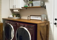 Washer and dryer under wood counter