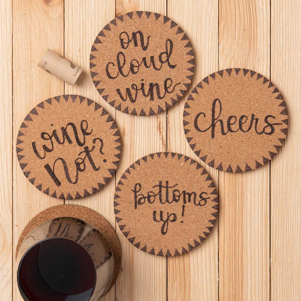 Wood burned round coasters with triangle boarders
