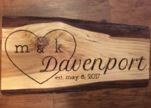 Wood wedding sign with a large heart