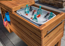 Wooden Ice Chest with Sliding Lid