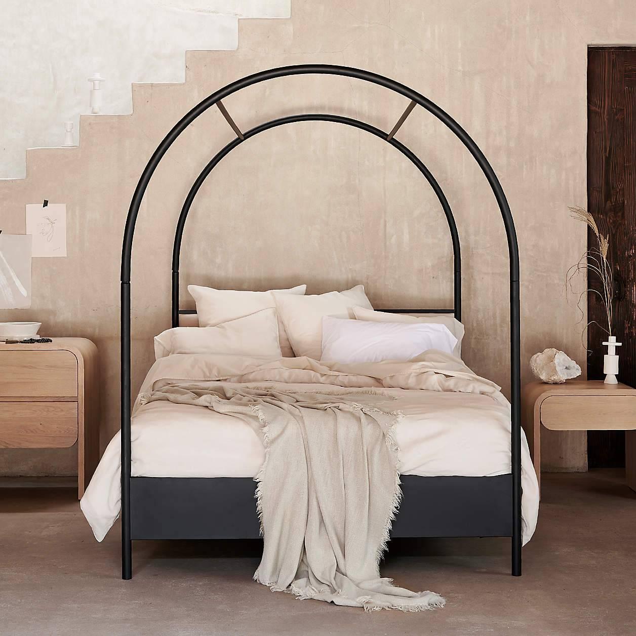 Linen Bedding Modern Boho Beige Bedroom with Bed Frame