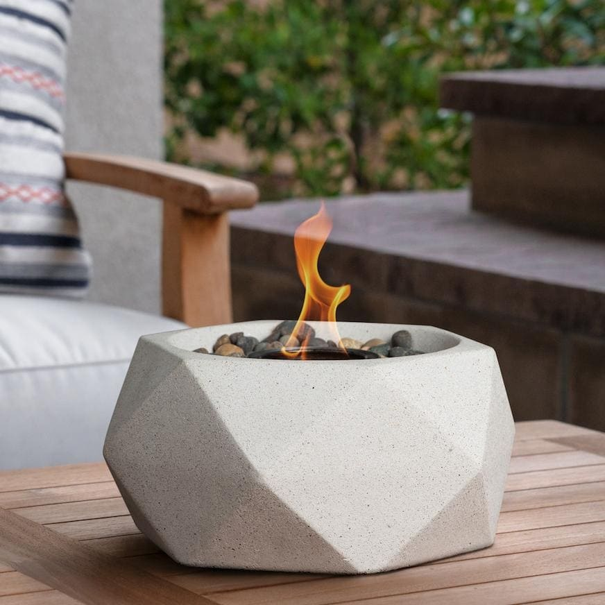 Small Table Top Fire Pot Bowl Geo Stone
