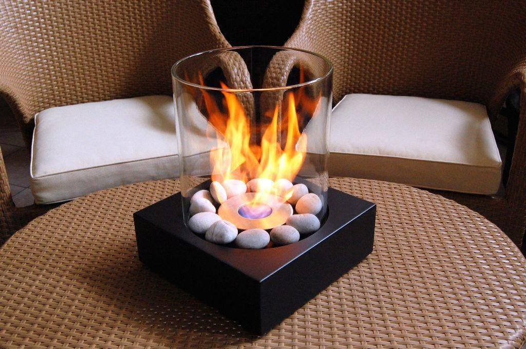 Glass Modern Table Top Fireplace Small Fire Feature