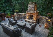 Large Natural Brick Outdoor Fire Pit Patio Lounge