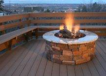 Natural Stone and Brick Outdoor Backyard Fire Pit Steel Ring
