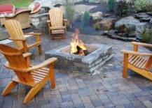 Natural stone brick outdoor fire pit stone patio