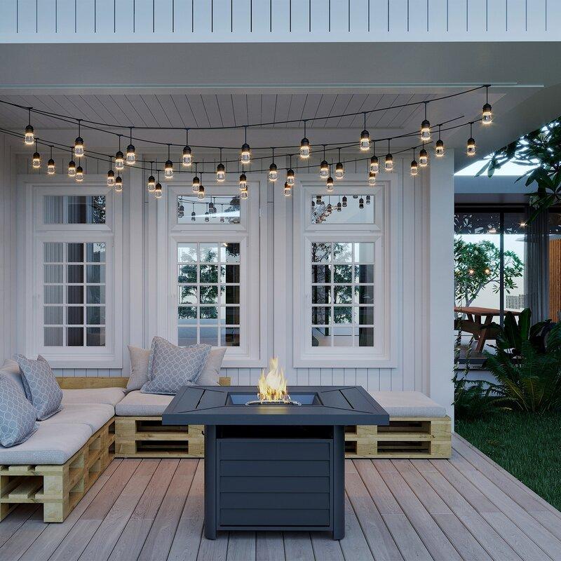Sleek modern fireplace fire table backyard patio decor