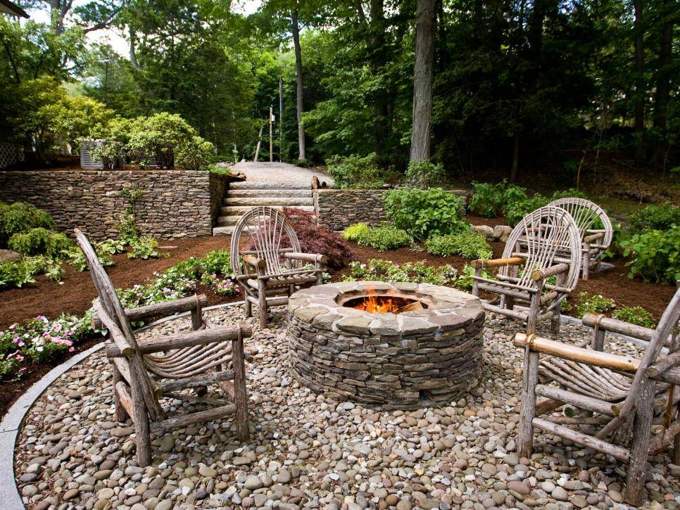 Rustic Outdoor Backyard Fire Pit Natural Traditional Stone Brick