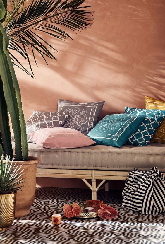 Earth Tones Lounge Area Colored Cushion Covers H&M