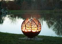 Modern Artistic Fire Pit Chiminea Metal Leaf