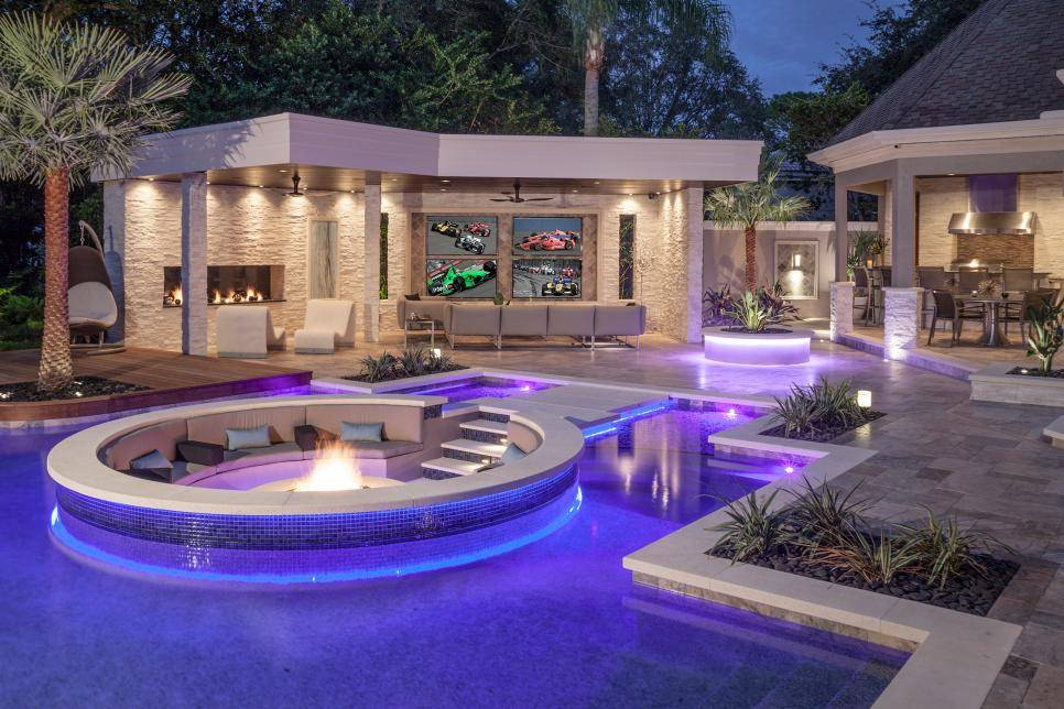 Luxury Fire Inset In Pool Backyard Fire Pit Ideas