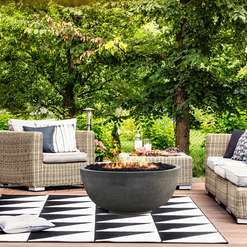 Modern Black Coal Fire Bowl Fireplace Outdoor Patio