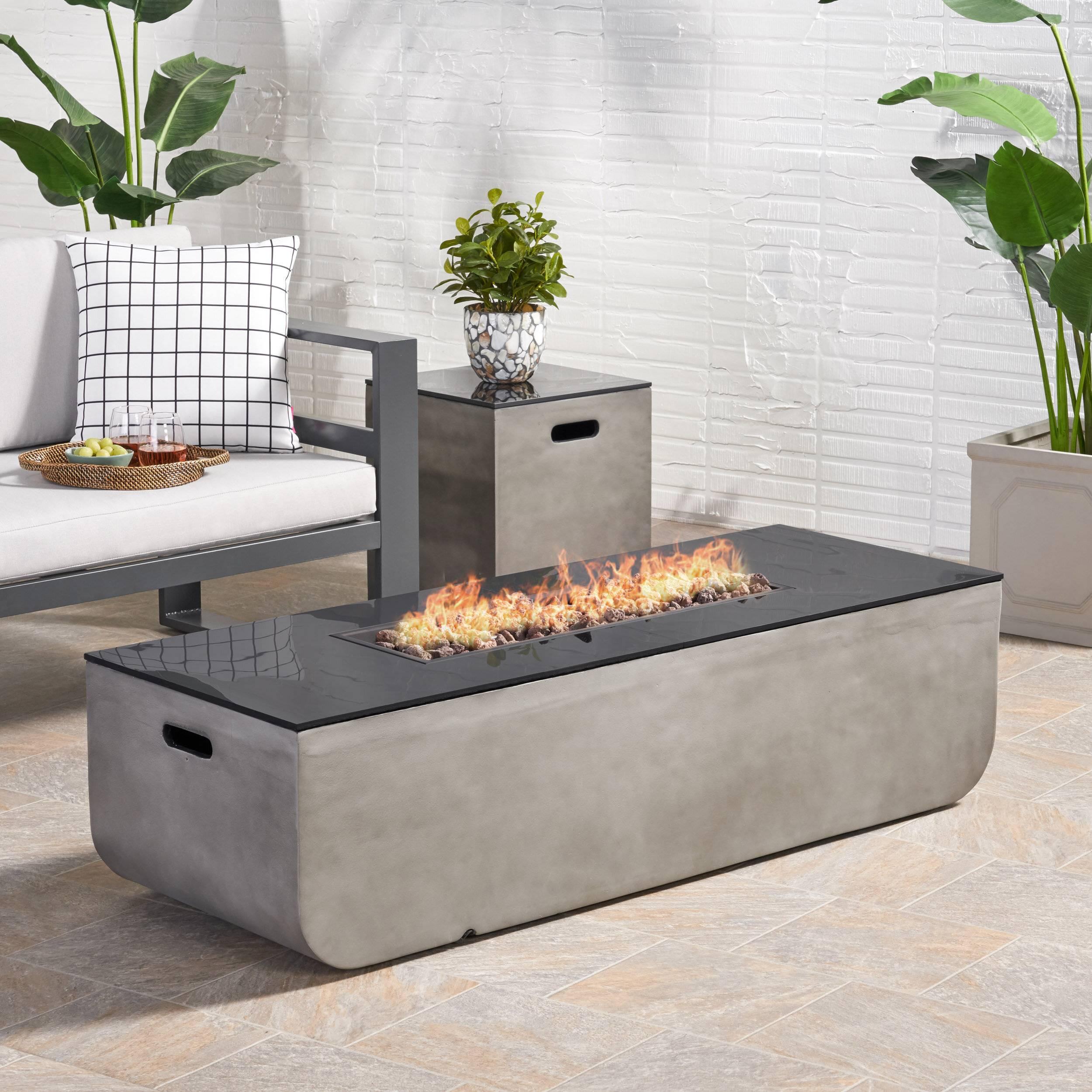 Modern Contemporary Glass Top Fire Table Backyard Patio