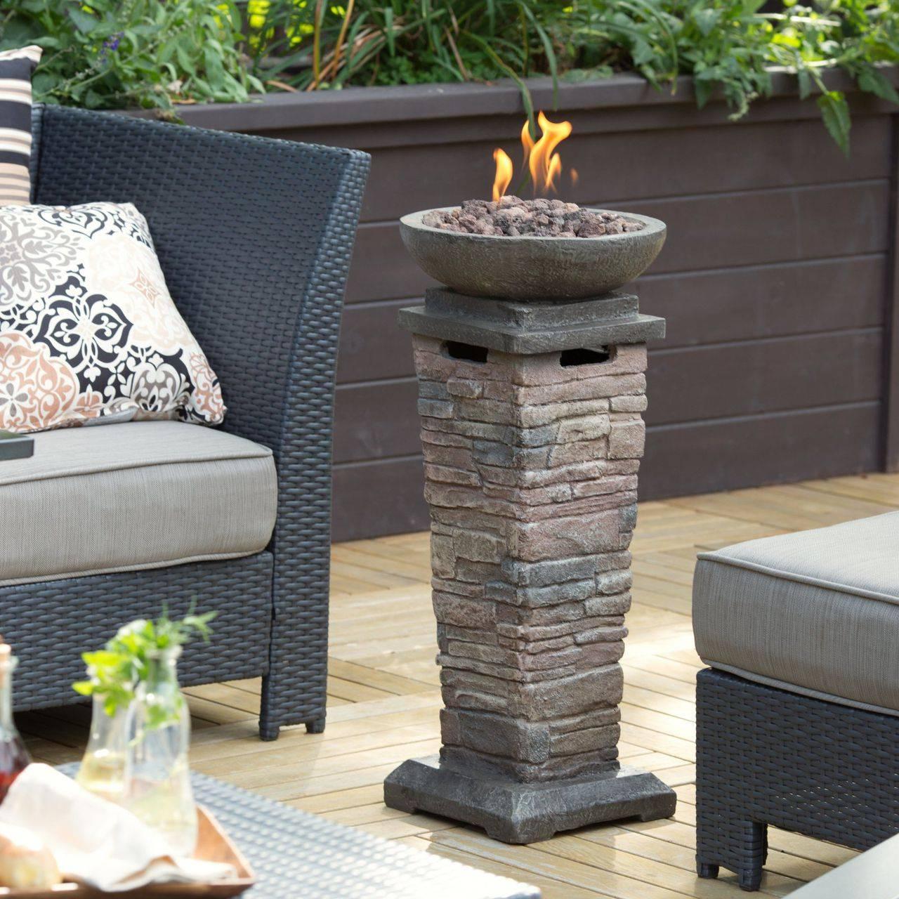 Small Space Tall Freestanding Fire Column Outdoor Fire Feature