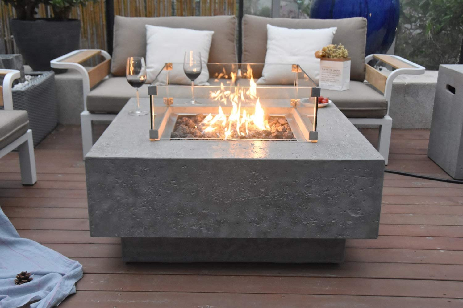 Modern Contemporary Glass and Cement Fire Table Amazon