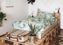 Plant Boho Chic Pallet Bed Macrame Wall Hanging Plant Room Rustic