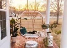 Boho Chic Modern Patio Porch Rattan Oval Swing