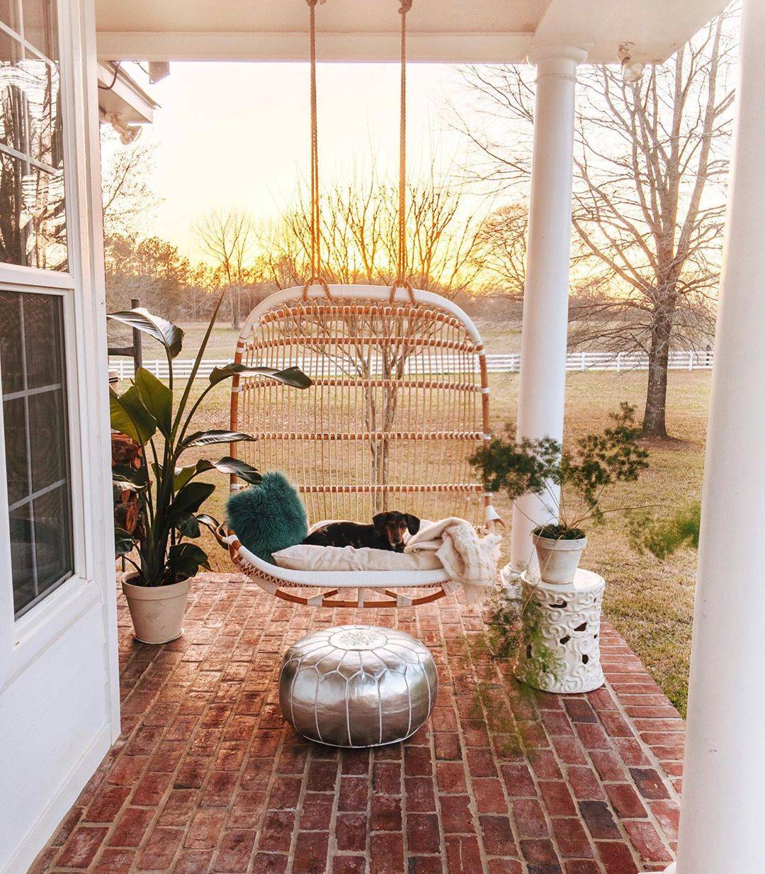 Boho Chic Modern Patio Porch Rattan Oval Swing
