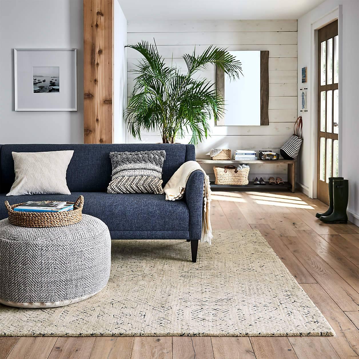 Large ottoman coffee table pouf grey knit