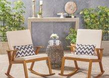 Acacia Wood Patio Seating Rocking Chairs Outdoor Furniture