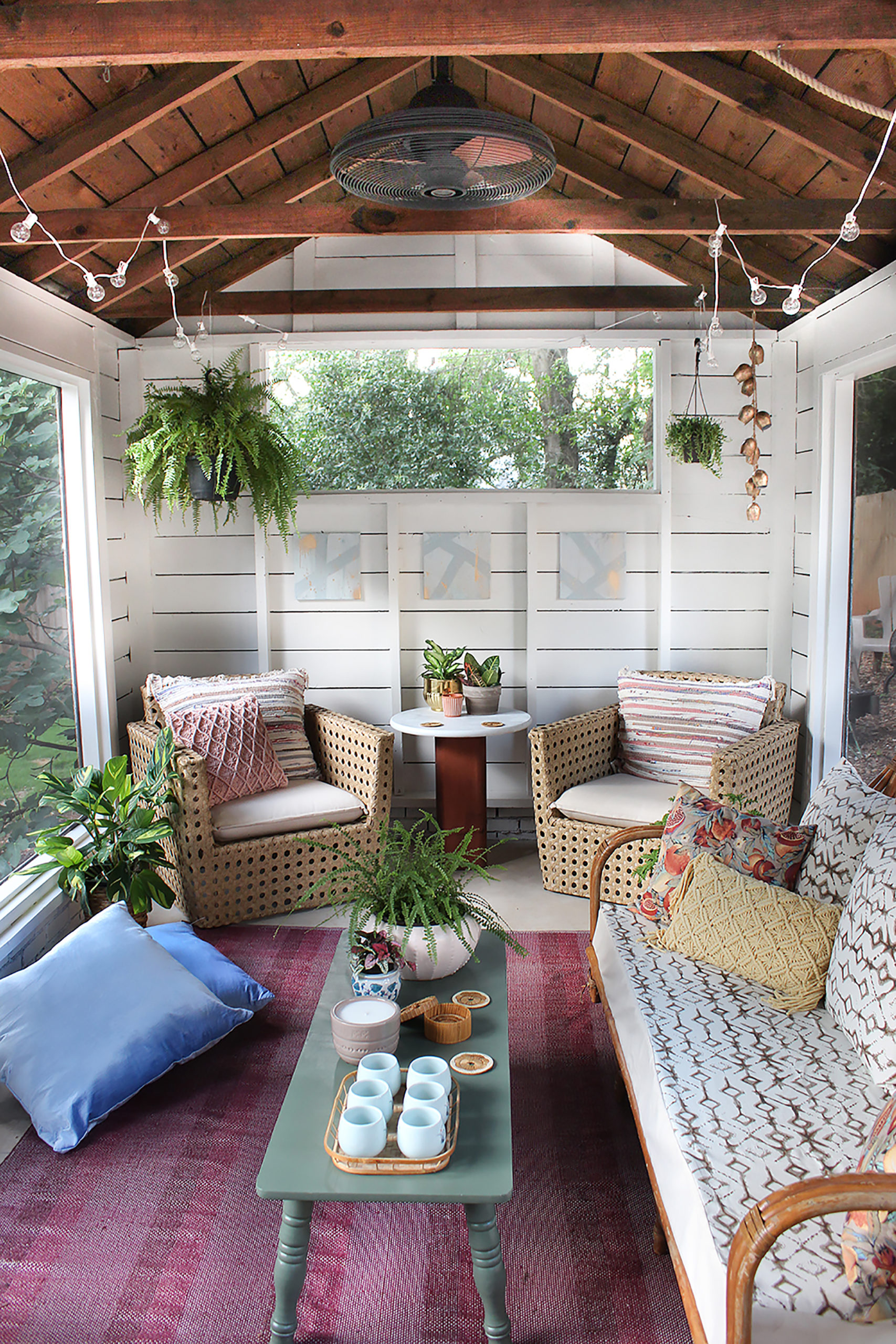 Modern Boho Chic Patio Decor Screened In Porch