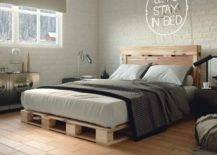 Grey Mens Room Modern Pallet Bed Furniture DIY Frame Rustic Decor