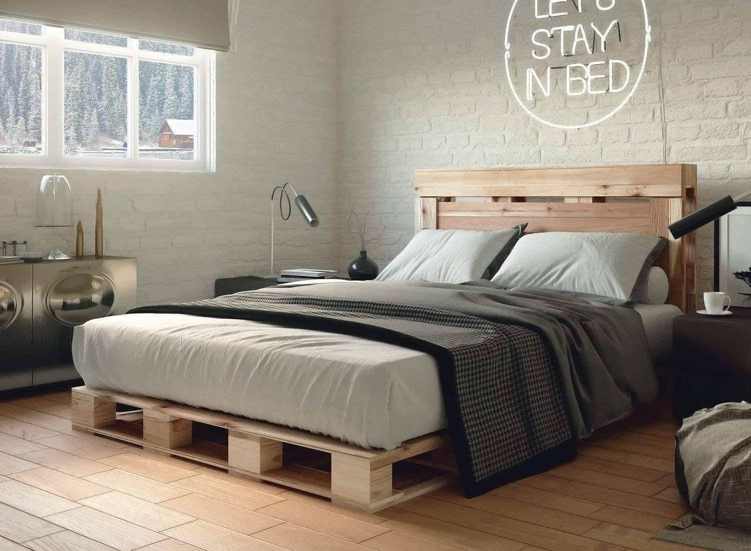 Modern Chic Feminine Bedroom Pallet Bed Natural Brick Wall Neon Sign Decor Fur Carpet