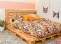 Chic Modern Floral Pallet Bed Frame Side Table Pink Geo Carpet Cat Art