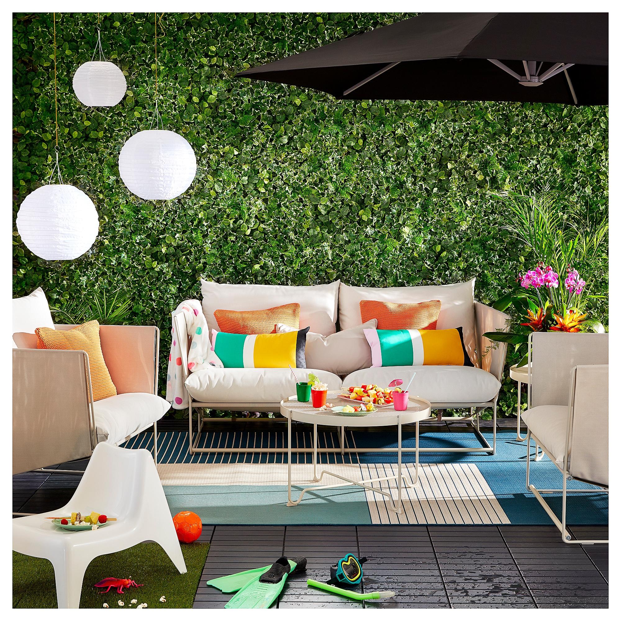 Ikea Patio Decor Trendy Color Cushions and Lanterns