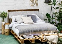 Rolling Wheels DIY Pallet Bed Green Bedroom Wooden Frame Plant Decor Interior Design
