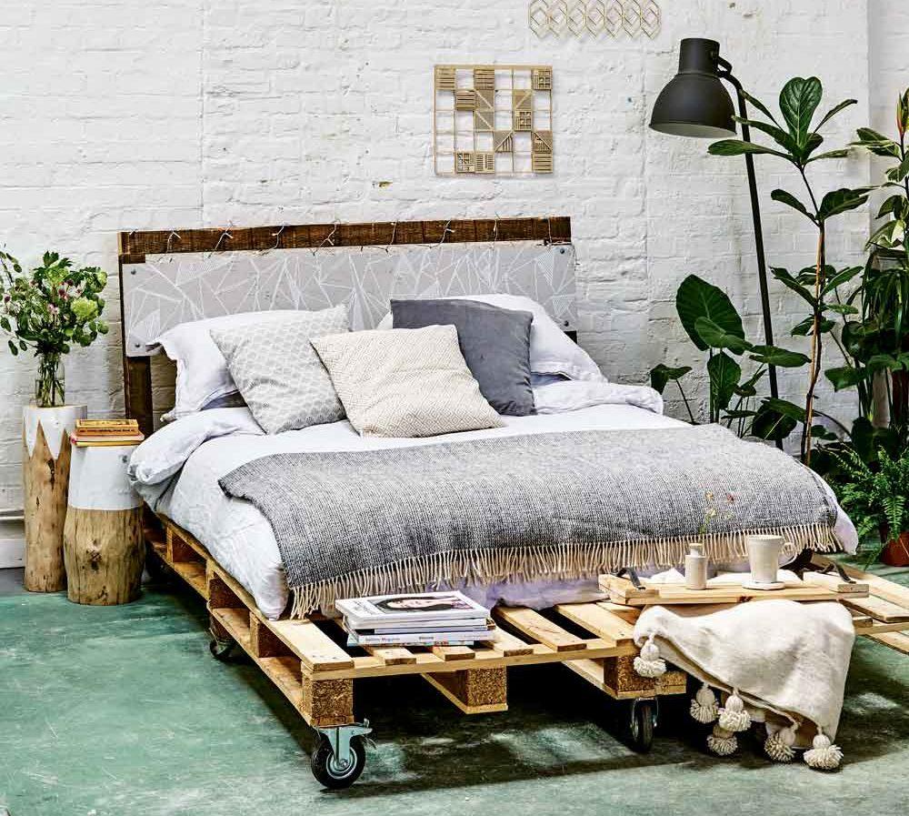 Rolling Wheels DIY Pallet Bed Green Bedroom Wooden Frame Plant Decor Interior Design