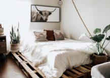 Modern Minimalist Boho Western Bedroom Decor Pallet Bed Feminine Cattle Art