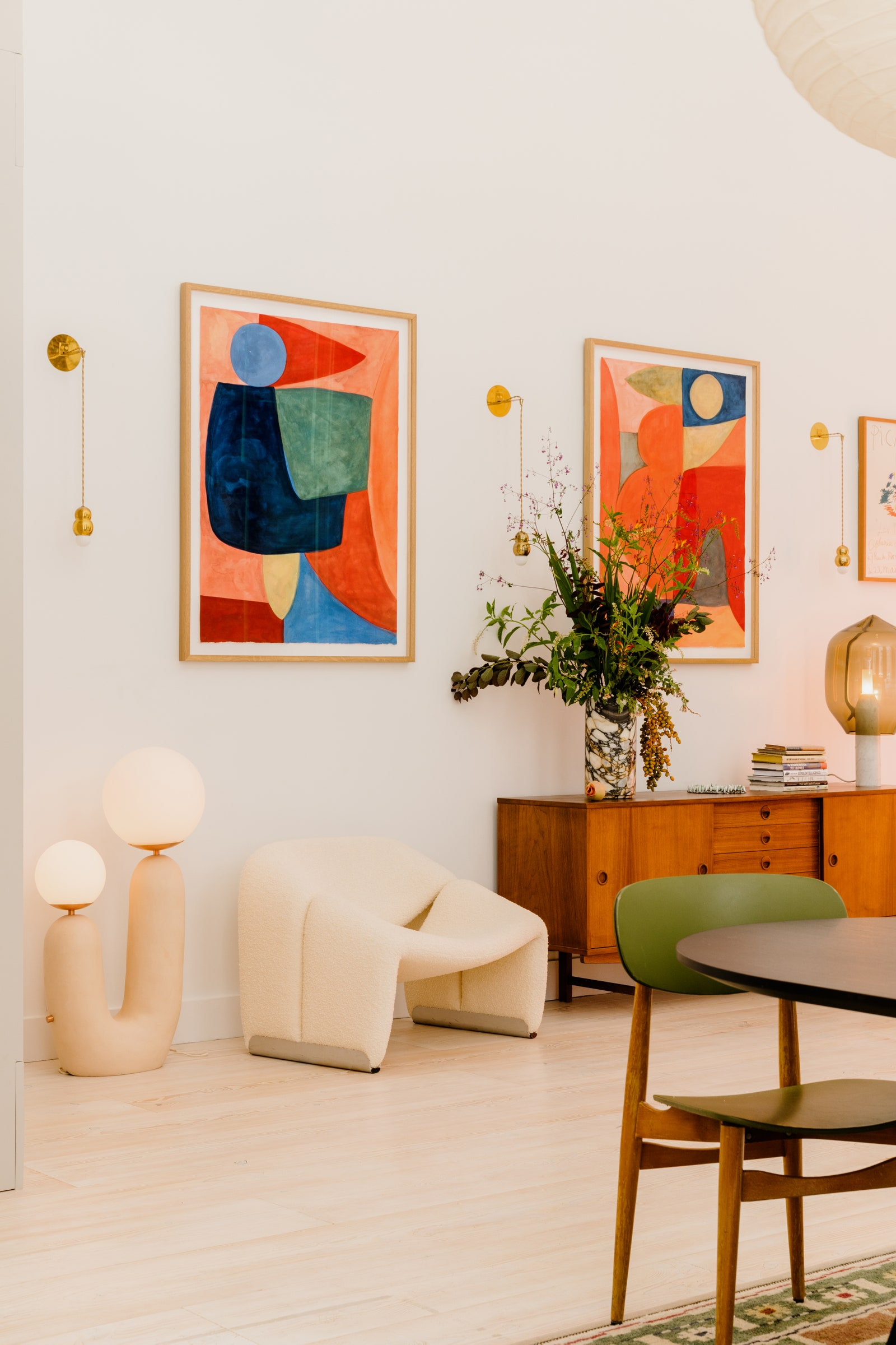 Abstract Art in Mid Century Modern Home